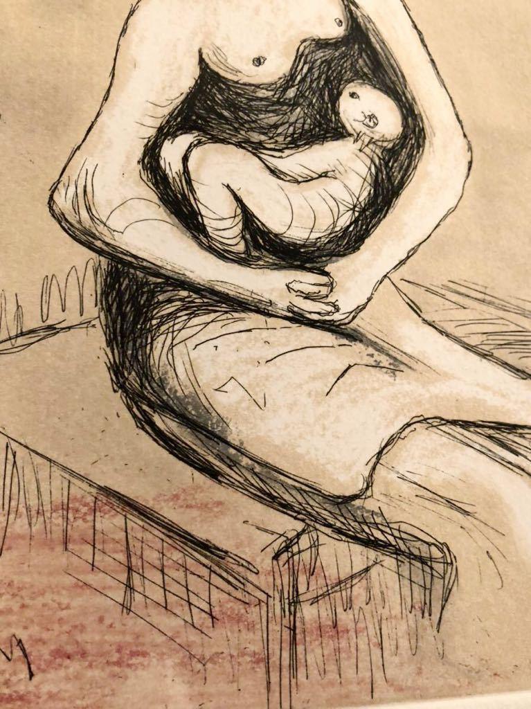 ヘンリー・ムーア 銅版画 「Mother and Child Ⅲ」 直筆サイン エディション 真作保証 Henry Moore カラーエッチング_画像7