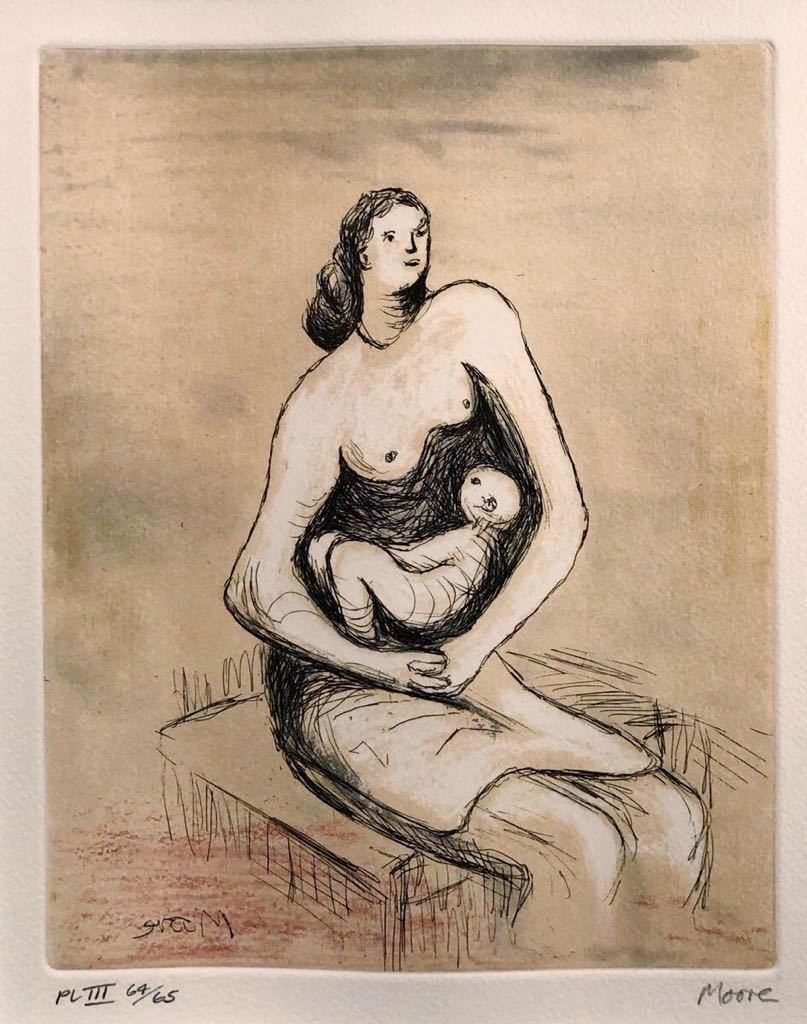 ヘンリー・ムーア 銅版画 「Mother and Child Ⅲ」 直筆サイン エディション 真作保証 Henry Moore カラーエッチング_画像3