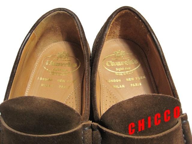 即決★25cm イタリア製 Church's チャーチ コインローファー メンズ 6.5 茶 本革 スエード ペニーローファー ビジネスシューズ レザー 革靴_画像8
