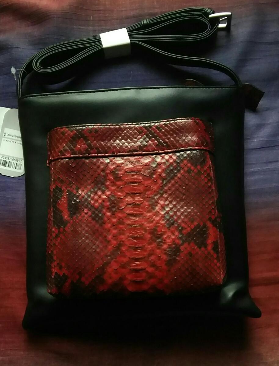 【送料無料!】 新品 未使用 パイソン 赤 レッド ポシェット ショルダーバッグ 軽量 人気 バッグ 本革 レザー バッグ