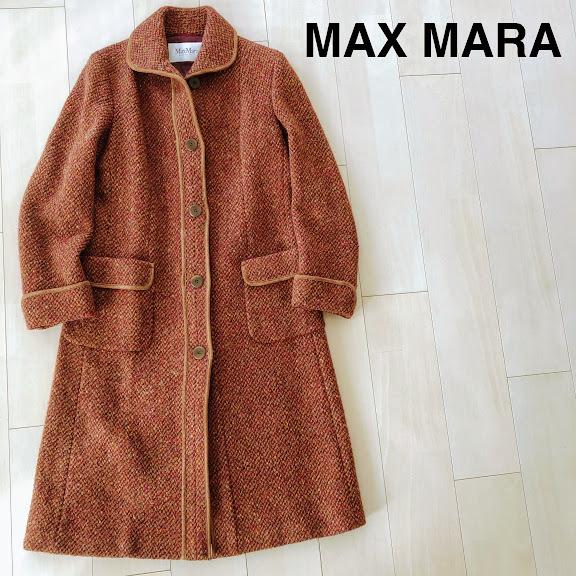 最高級 白タグ MAX MARA マックスマーラ ウール ロング コート サイズL位 42 イタリア インポート_画像1