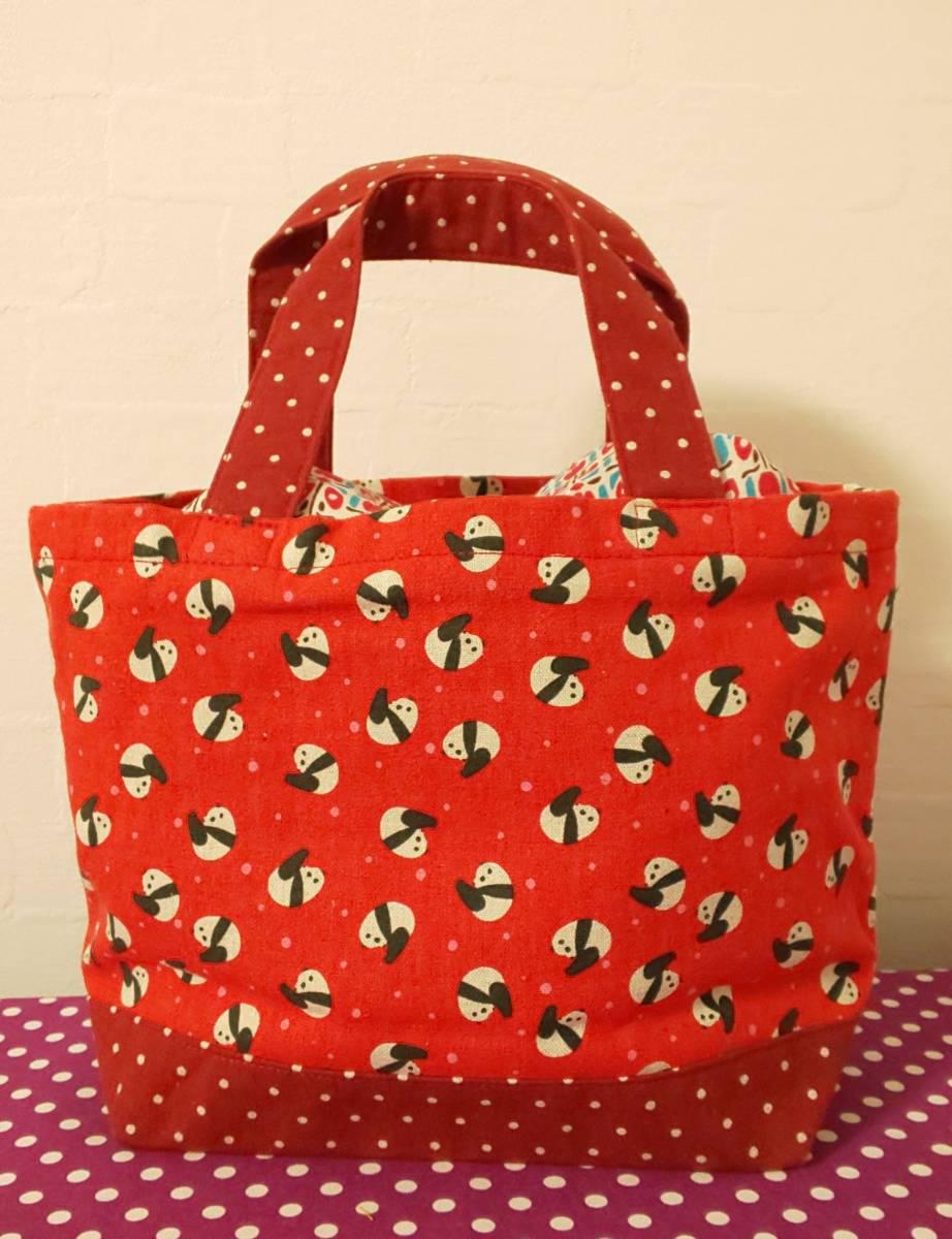 ☆ハンドメイド☆巾着蓋つきミニサイズトートバッグ ランチバッグ ちょっとそこまでサイズ ころりんパンダ 赤×赤ドット