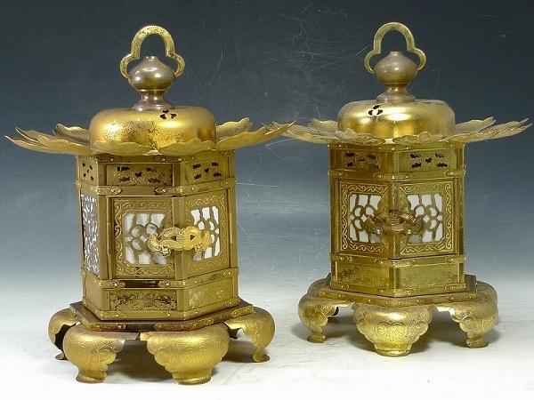 ▲16Z10▲六角猫足吊灯籠一対/神前灯篭銅造金鍍金真鍮仏教美術仏具_下記の画像・説明も必ずご覧下さい。