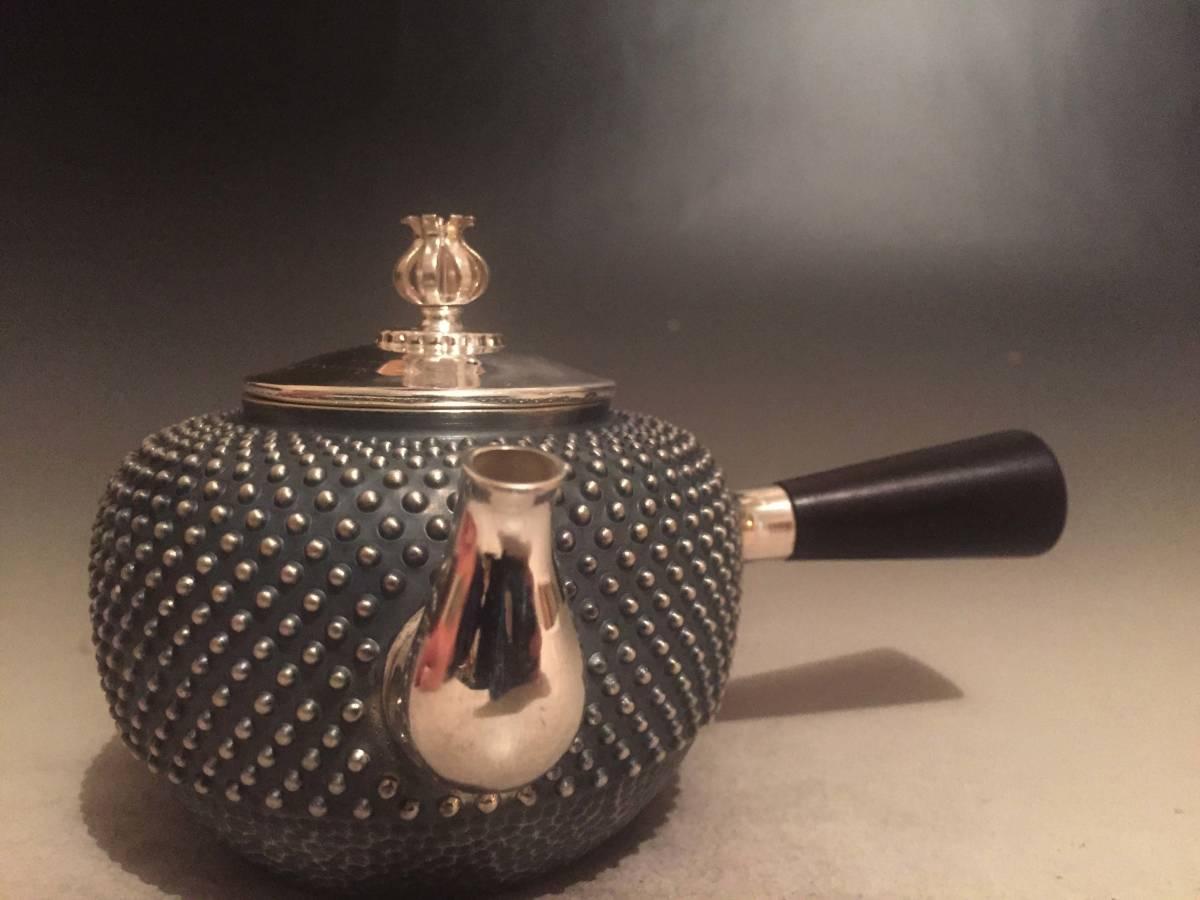 純銀製 光南 玉霰急須 蕾摘 横手 煎茶道具 銀瓶/刻印有箱付