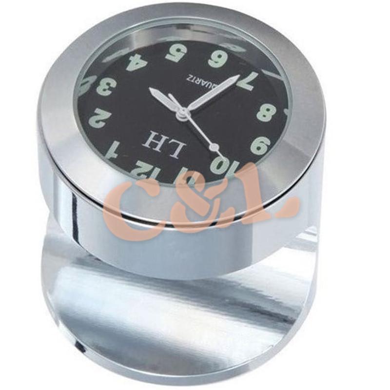 オートバイ ハンドル バー黒ダイヤル時計時計付き クローム マウント フィット 7/8 また 1 バー_画像2