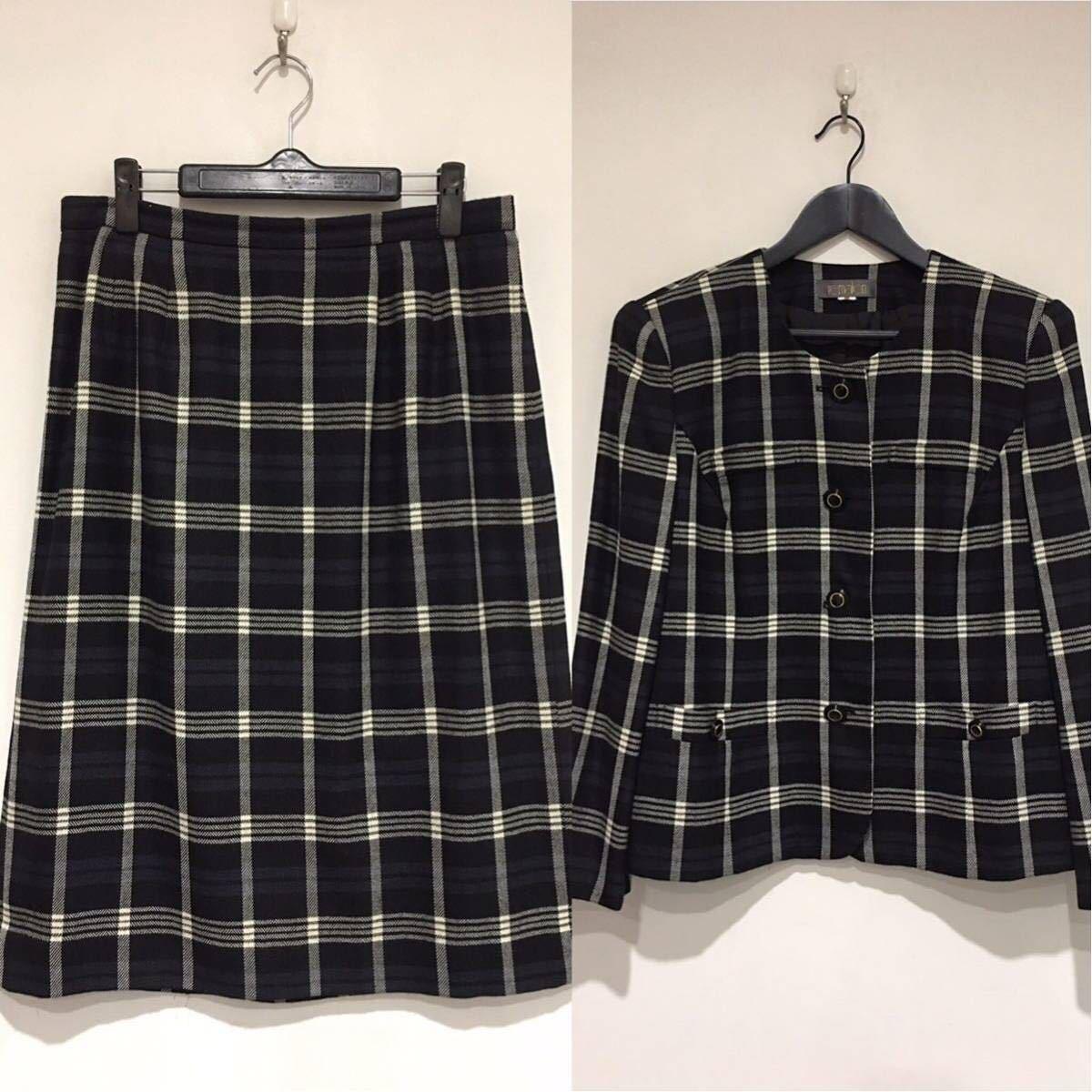 ★美品 REMALON レマロン ミセス・婦人 ノーカラージャケット タイトスカート 日本製 大きいサイズ セットアップスーツ 毛100% _画像2