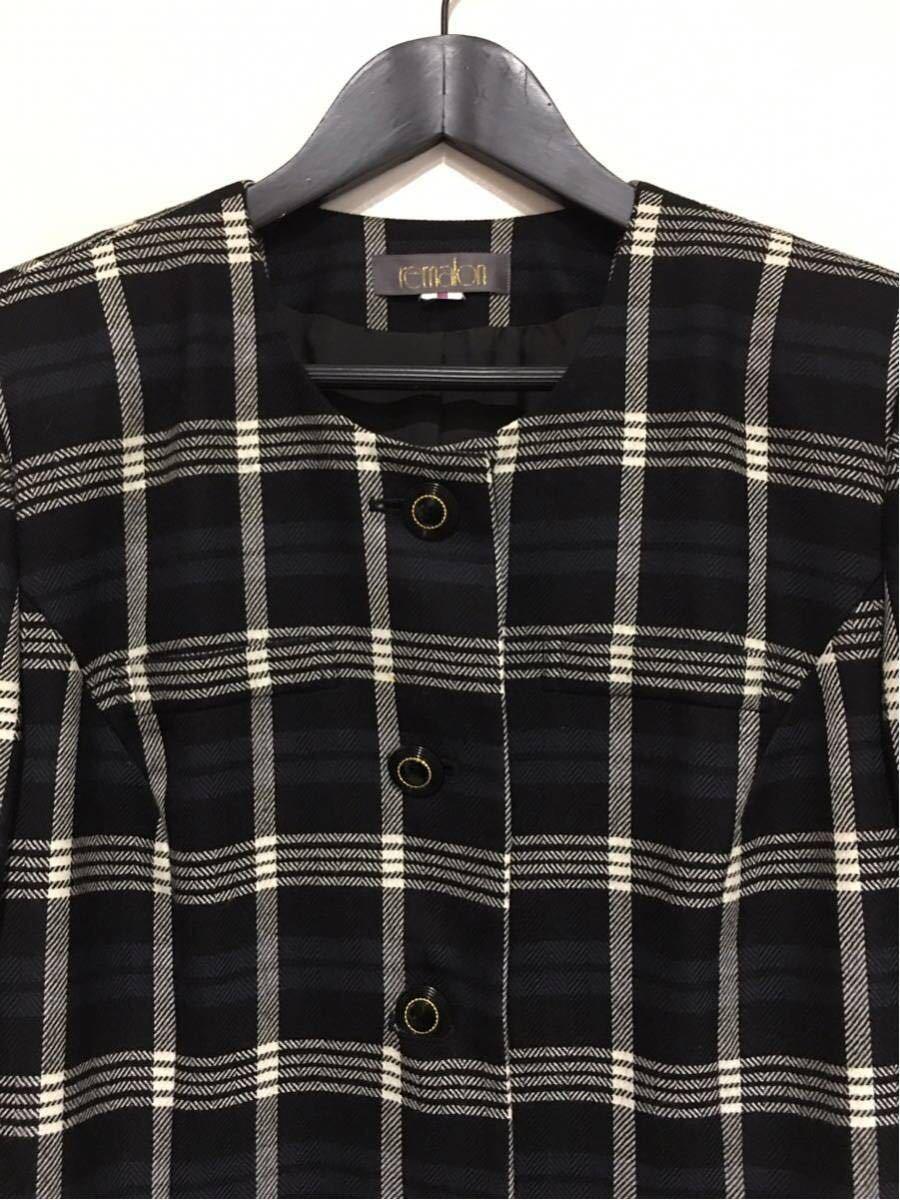 ★美品 REMALON レマロン ミセス・婦人 ノーカラージャケット タイトスカート 日本製 大きいサイズ セットアップスーツ 毛100% _画像4