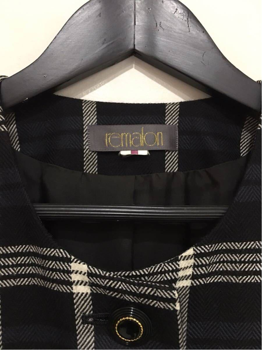 ★美品 REMALON レマロン ミセス・婦人 ノーカラージャケット タイトスカート 日本製 大きいサイズ セットアップスーツ 毛100% _画像6