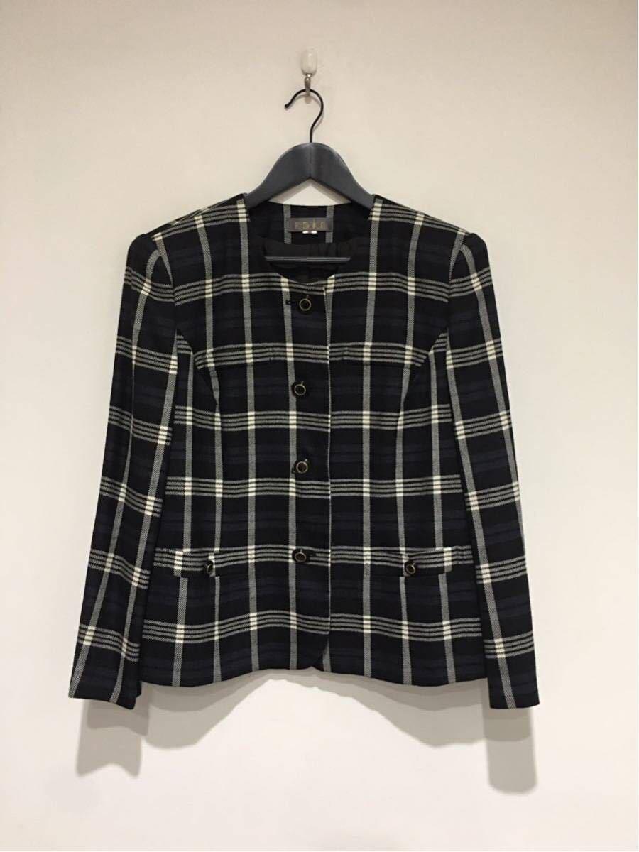 ★美品 REMALON レマロン ミセス・婦人 ノーカラージャケット タイトスカート 日本製 大きいサイズ セットアップスーツ 毛100% _画像3