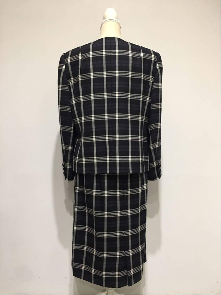 ★美品 REMALON レマロン ミセス・婦人 ノーカラージャケット タイトスカート 日本製 大きいサイズ セットアップスーツ 毛100% _画像10