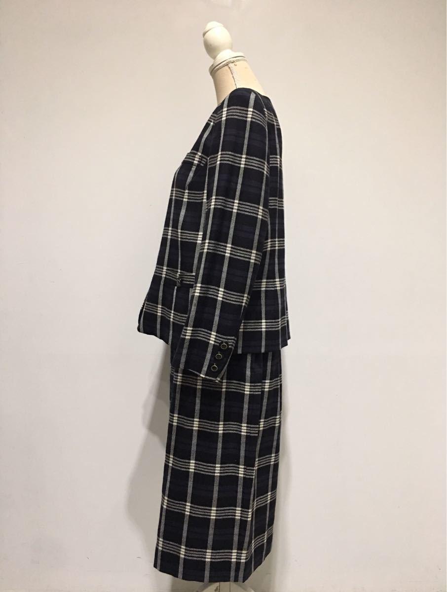 ★美品 REMALON レマロン ミセス・婦人 ノーカラージャケット タイトスカート 日本製 大きいサイズ セットアップスーツ 毛100% _画像9