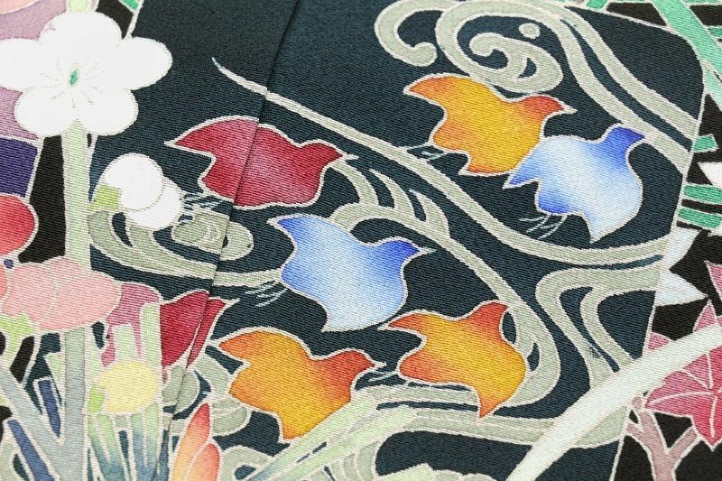 ※お仕立付!本加工手描き友禅染黒留袖☆加賀五彩四季花祝文☆友禅伝統工芸品【即決価格】_画像5