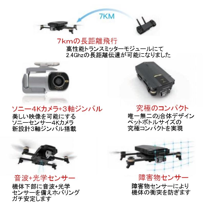 【ソニー4Kカメラ搭載!】GDU O2 Plus【アップデート後期型】障害物センサー 7km飛行 3軸ジンバル搭載 GPSドローン ブラシレスモーター