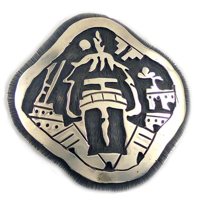 ヴィンテージシルバーペンダントトップ・ヘッド/カチーナのモチーフ/ホピ族のオーバーレイインディアンジュエリー/ビンテージ_画像1