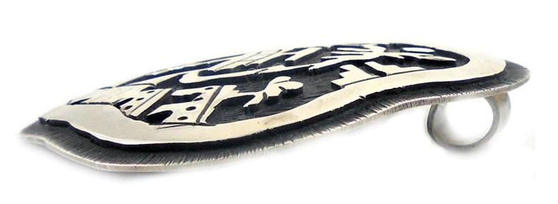 ヴィンテージシルバーペンダントトップ・ヘッド/カチーナのモチーフ/ホピ族のオーバーレイインディアンジュエリー/ビンテージ_画像3