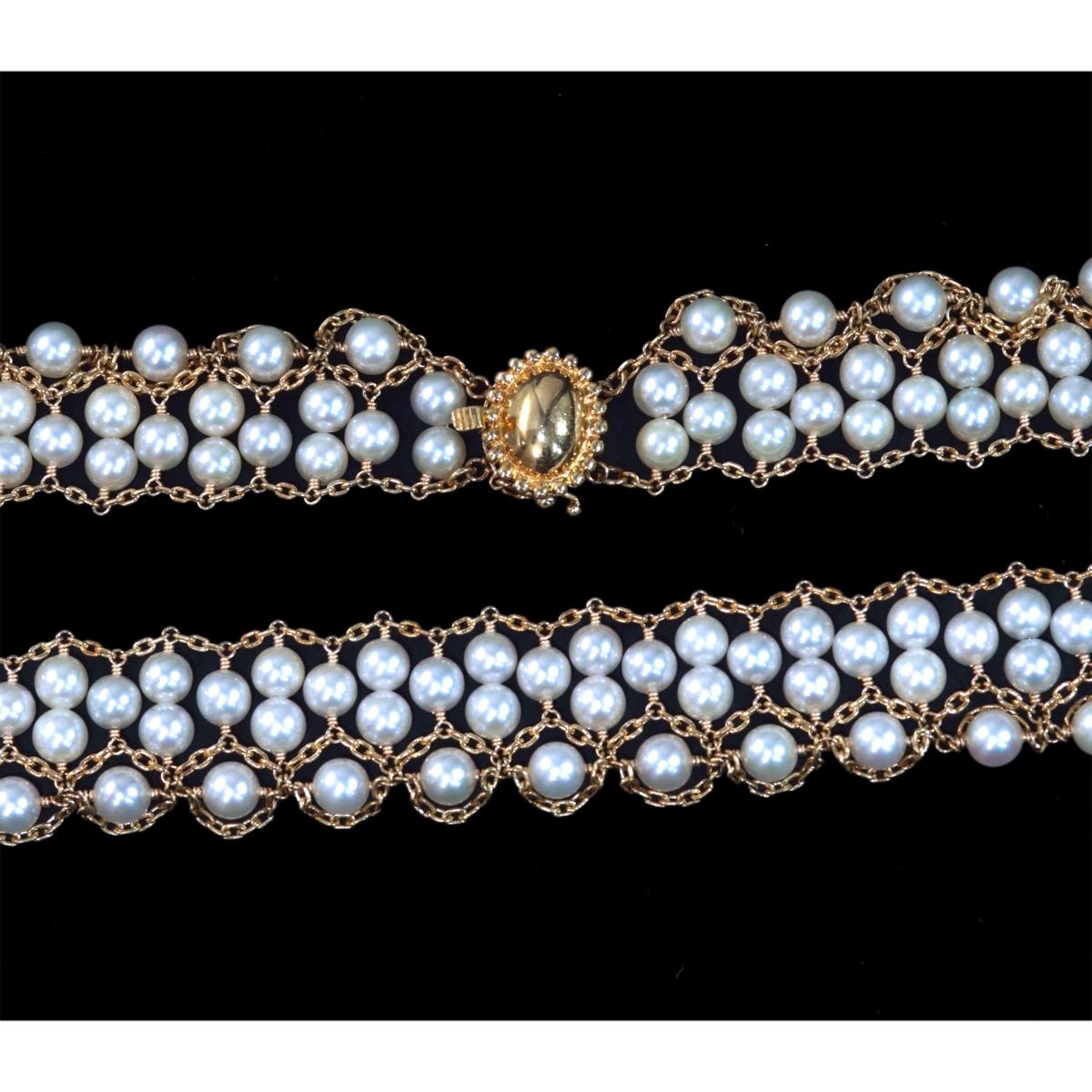 F0420 アコヤ真珠ベビーパール4.5~4.0mm 最高級18金無垢ネックレス 長さ40.5cm 重量35.5g 縦幅19.0mm_画像2