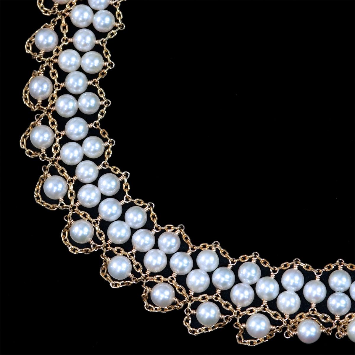 F0420 アコヤ真珠ベビーパール4.5~4.0mm 最高級18金無垢ネックレス 長さ40.5cm 重量35.5g 縦幅19.0mm_画像1
