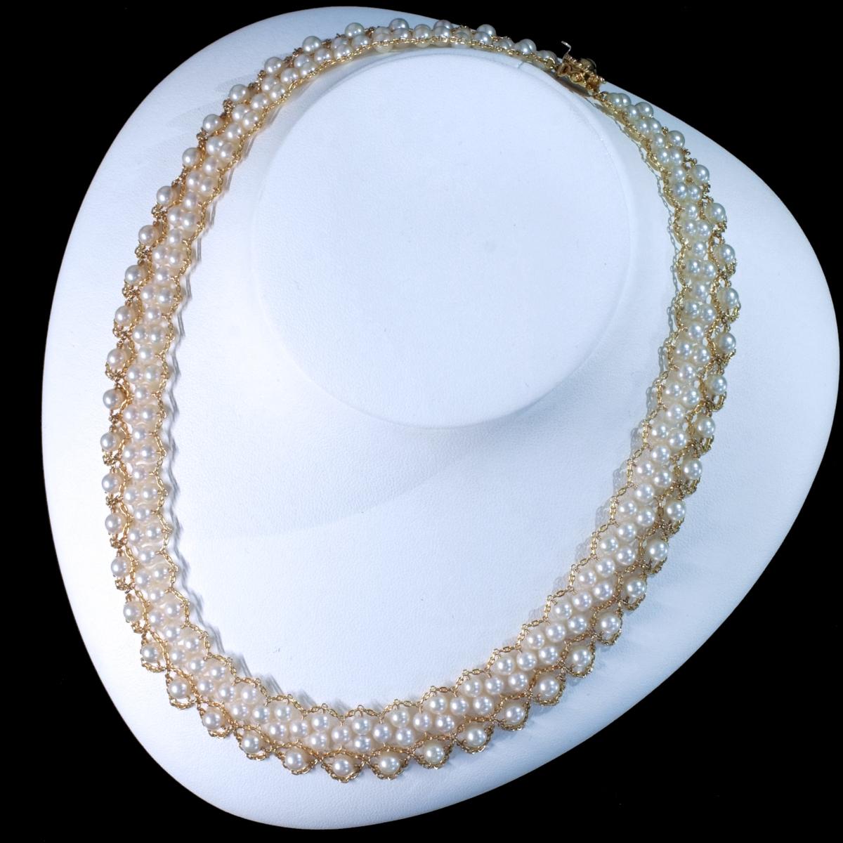 F0420 アコヤ真珠ベビーパール4.5~4.0mm 最高級18金無垢ネックレス 長さ40.5cm 重量35.5g 縦幅19.0mm_画像3