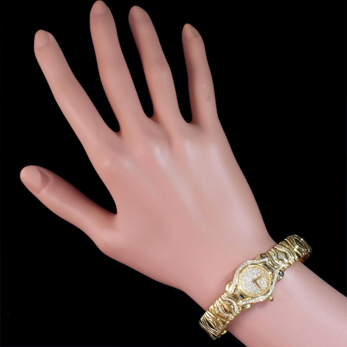F0376【LALANNE】天然絶品ダイヤモンド ルビー 最高級18金無垢セレブリティレディQZ 腕周り18cm 重量68.0g ケース幅20.0mm_画像4