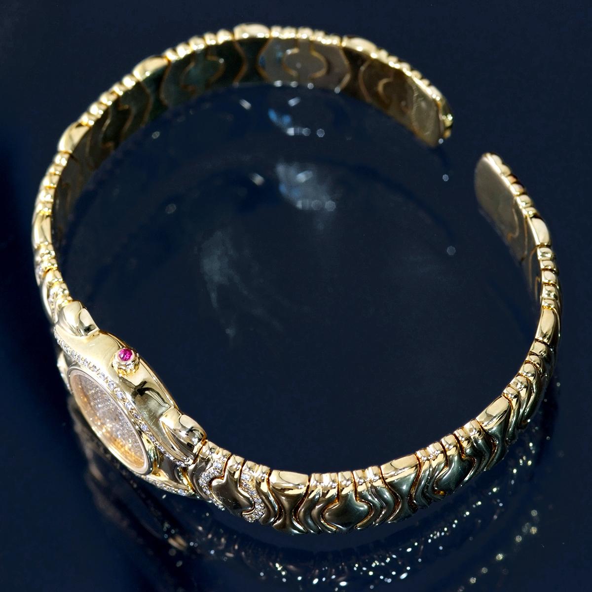 F0376【LALANNE】天然絶品ダイヤモンド ルビー 最高級18金無垢セレブリティレディQZ 腕周り18cm 重量68.0g ケース幅20.0mm_画像3