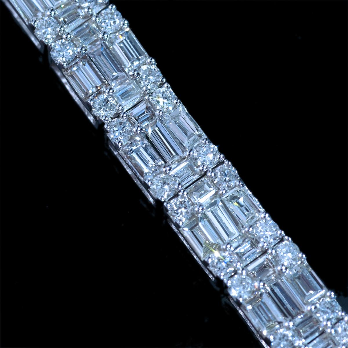 *BL2527 新品!業者向け令和新作! 天然上質ダイヤモンド5.00ct 最高級18金WG無垢セレブリティブレスレット