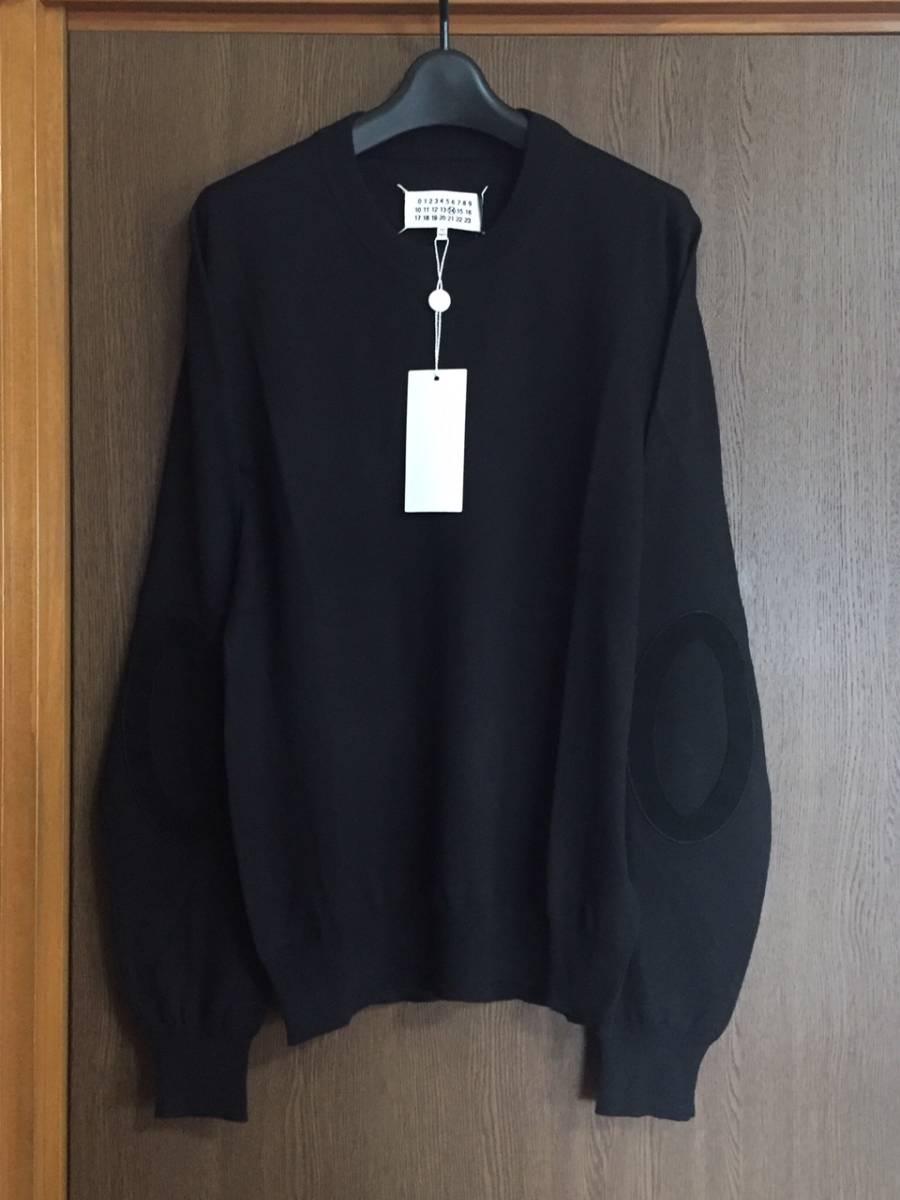 19AW新品L メゾンマルジェラ デコルティケ エルボーパッチ ニット セーター 今期 黒 size L Maison Margiela 14 メンズ オールブラック_画像1