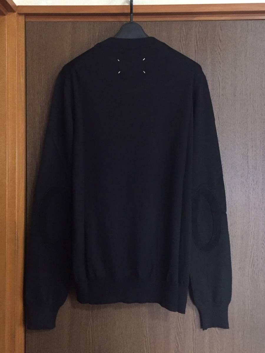 19AW新品L メゾンマルジェラ デコルティケ エルボーパッチ ニット セーター 今期 黒 size L Maison Margiela 14 メンズ オールブラック_画像2
