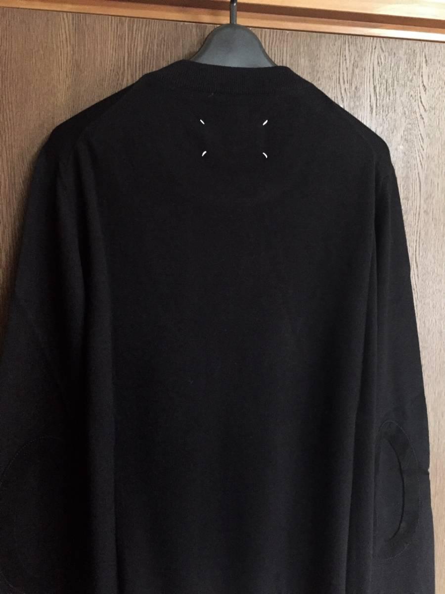 19AW新品L メゾンマルジェラ デコルティケ エルボーパッチ ニット セーター 今期 黒 size L Maison Margiela 14 メンズ オールブラック_画像3
