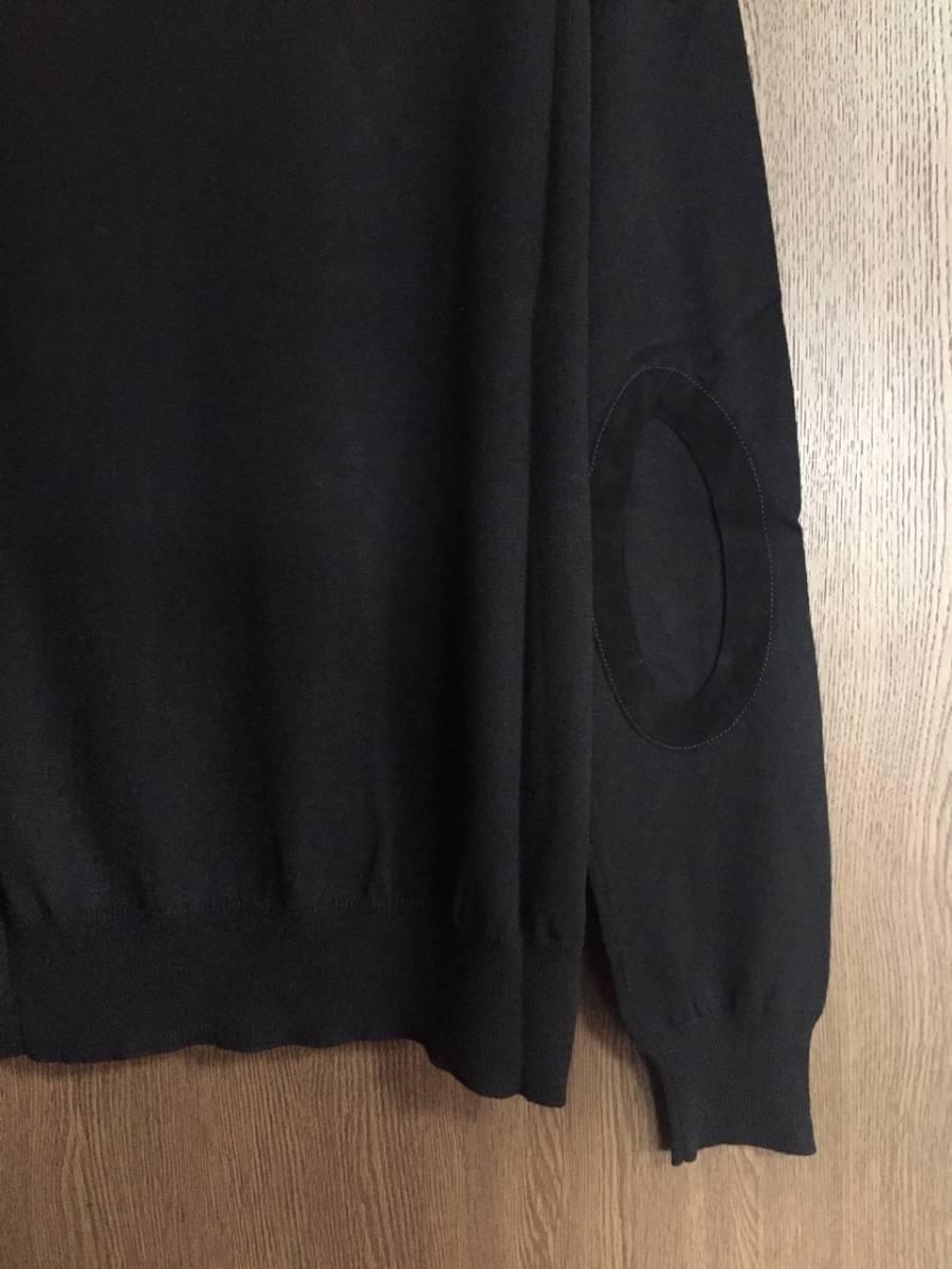 19AW新品L メゾンマルジェラ デコルティケ エルボーパッチ ニット セーター 今期 黒 size L Maison Margiela 14 メンズ オールブラック_画像4