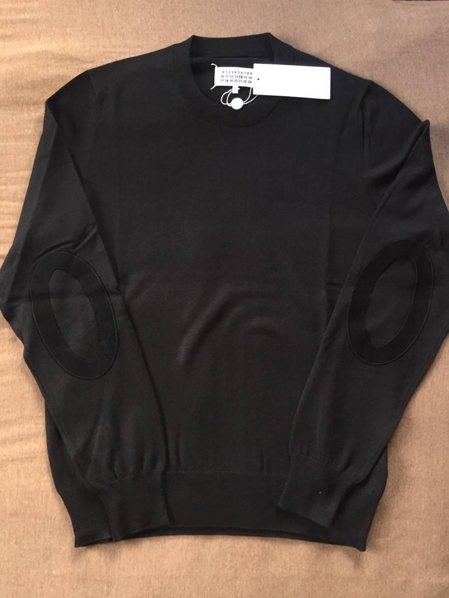 19AW新品L メゾンマルジェラ デコルティケ エルボーパッチ ニット セーター 今期 黒 size L Maison Margiela 14 メンズ オールブラック_画像5
