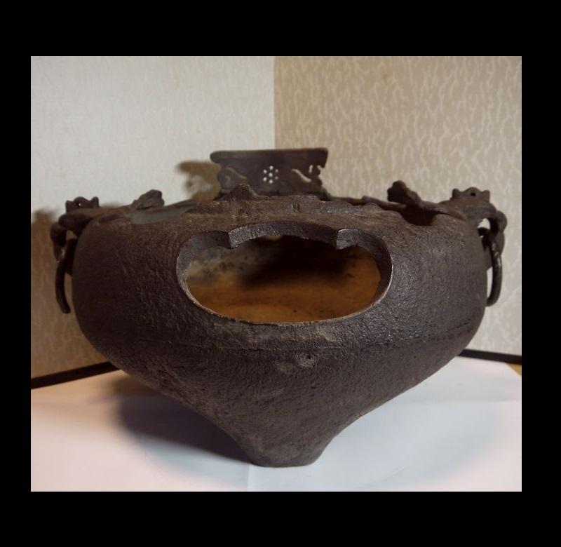 【鉄製】●やつれ風炉●鐶付●瓶掛け●鉄瓶火鉢●煎茶道具●涼炉●茶道具●