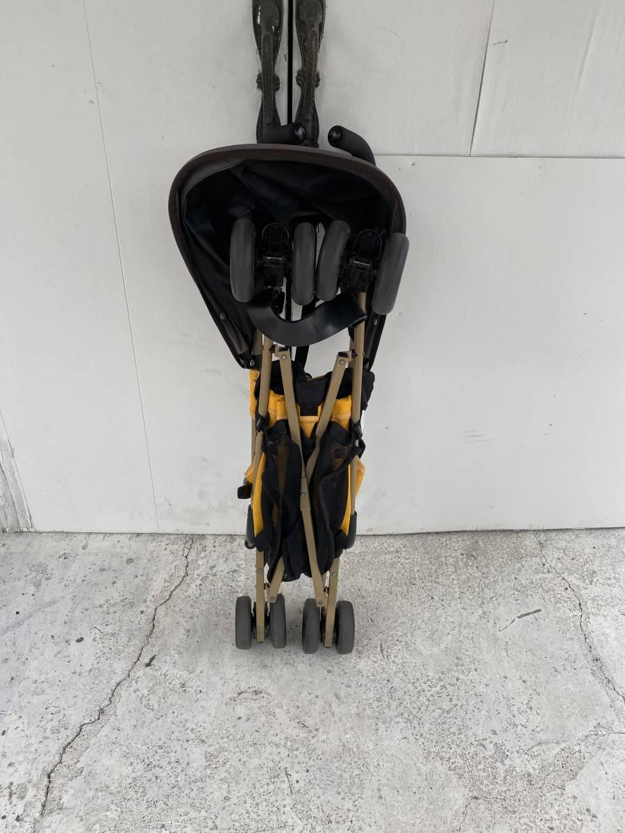 KATOJI製、A型ベビーカーGTS、黒&黄色、日除け付き美品中古品_画像1