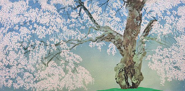 ■中島千波 【常照皇寺の九重桜】 シルクスクリーン 直筆サイン 印章有り エディション有り