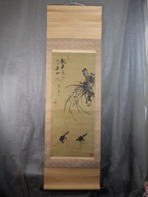 r0A091R 掛軸 中国 中国美術 劉琦 花鳥図 字画 書画 //0.1