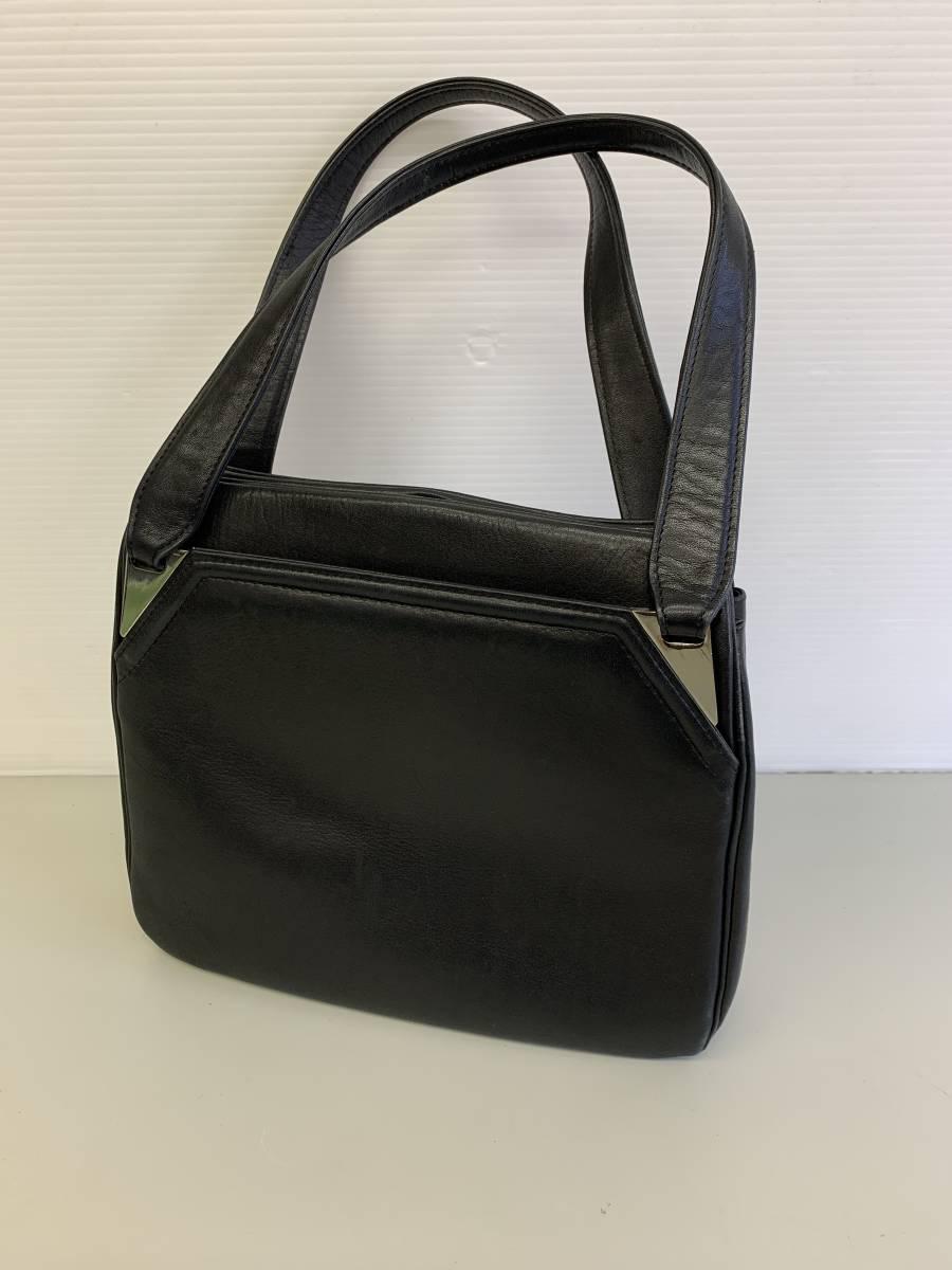 【お買い得品!】 ★ ハンドバッグ ★ がま口 ブラック 皮革製品 リメイク 黒色