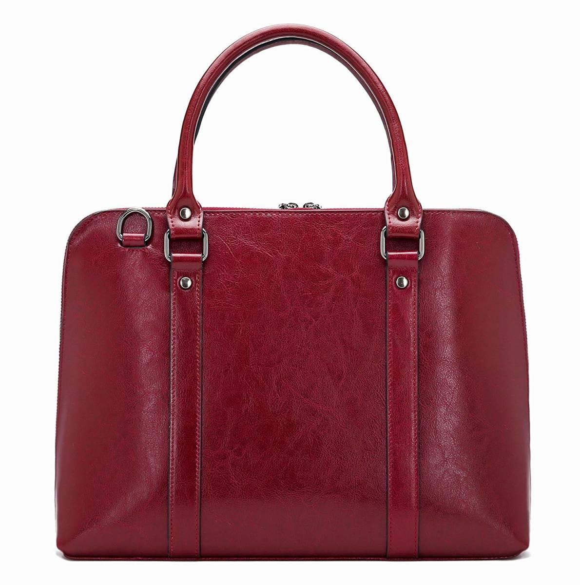 本革 レッド 赤 ワインレッド ビジネスバッグ 書類鞄 ブリーフケース 新品 ショルダーバッグ 2way