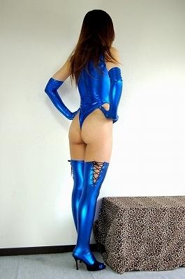 光沢 メタリック 後ファスナー ハイネックTバックレオタード 3点セット 特大サイズ 青色_画像4