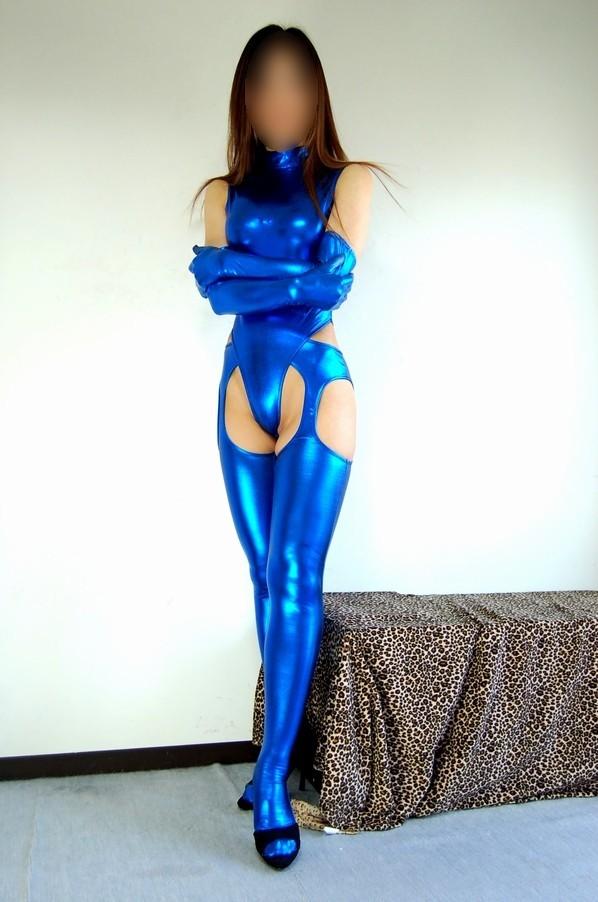 光沢 メタリック 後ファスナー ハイネックTバックレオタード 3点セット 特大サイズ 青色_画像3