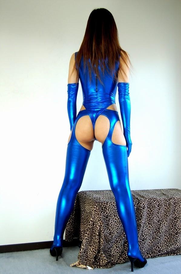光沢 メタリック 後ファスナー ハイネックTバックレオタード 3点セット 特大サイズ 青色_画像5