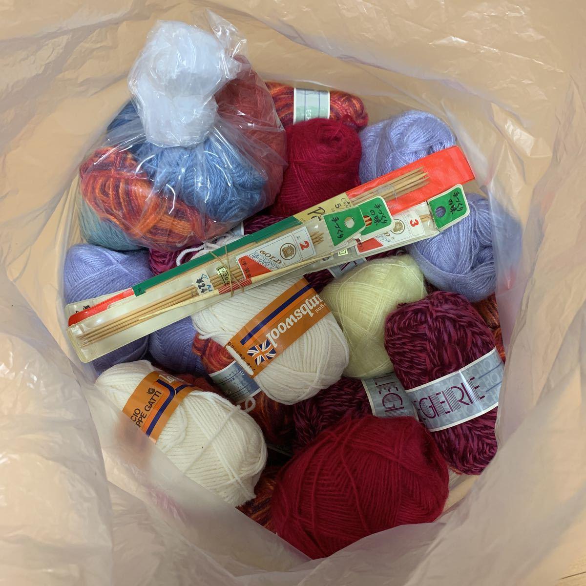 送料込!140サイズ!毛糸 まとめて まとめ売り 大量 編み針 かぎ針 ジャンク品 経年保管品 中古 編み物 手編み _画像2
