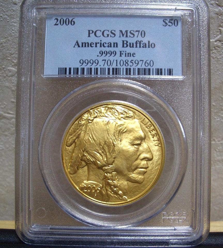 2006年 初年度 USAアメリカ 50ドル (1oz) 純金 インディアン・バッファロー金貨 PCGS鑑定 MS70 送料込み