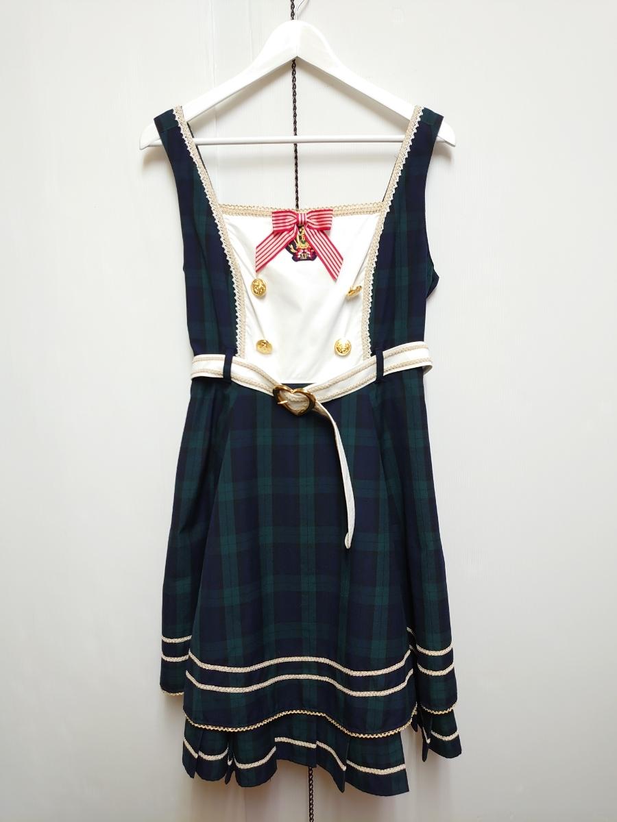 送料込み【Angelic Pretty】Bunny カレッジ ジャンパースカート グリーン / アンジェリックプリティ JSK タータンチェック