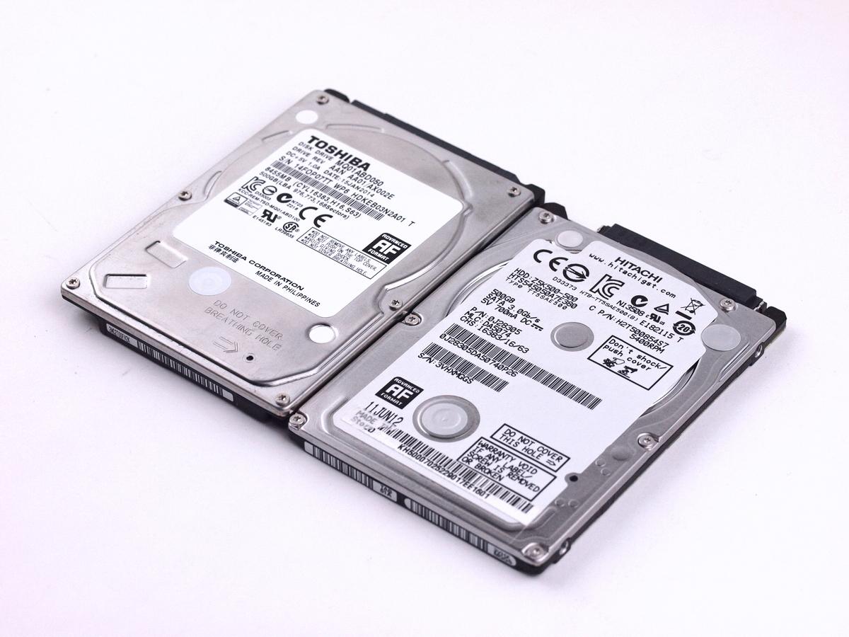 送料無料!動作良好 日立(HITACHI)/ 東芝(TOSHIBA)製 2.5インチSATA HDD 500GB×2 合計2台セット【 S?M?A?R?T値正常 2個】