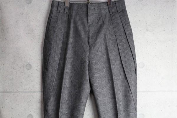 新品 ポールスミス ブロック チェック ウール スラックス/XL/濃灰/定価3.4万パンツ_画像2