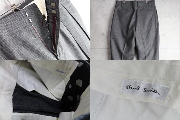 新品 ポールスミス ブロック チェック ウール スラックス/XL/濃灰/定価3.4万パンツ_画像3