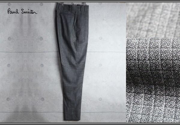 新品 ポールスミス ブロック チェック ウール スラックス/XL/濃灰/定価3.4万パンツ_画像1