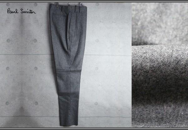 新品 ポールスミス 上質厚手 ウール フランネル スラックス/XXL/灰/定価3万パンツ2_画像1