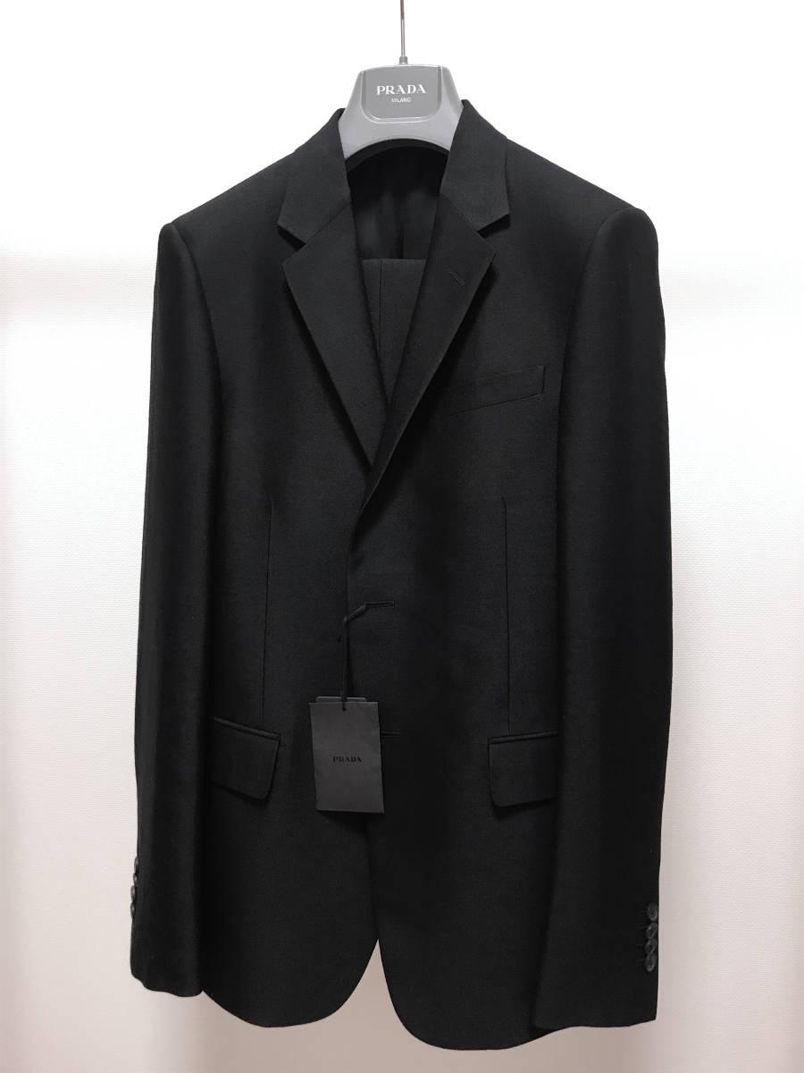 超破格 参考上代40万 新品 PRADA プラダ スーツ 黒 送料無料 冠婚葬祭 ビジネス 純正スーツケース 純正ハンガー ブラック 2B suit メンズ