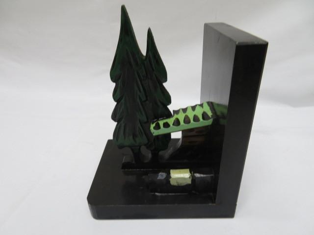 昭和レトロ 木製ブックエンド 水車小屋 本立て_画像6