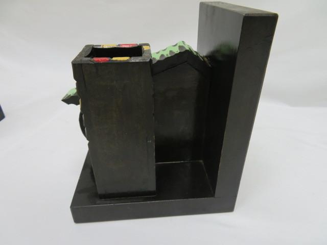 昭和レトロ 木製ブックエンド 水車小屋 本立て_画像4